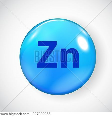 Mineral Zn Zink Blue Shiny Pill Capsule Icon. Vector Illustration