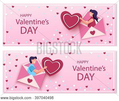 Set valentines day illustrations of a couple. Love concept, Valentines day background. Happy Valentines Day card with hearts, cupids and place for your text vector illustration. Valentines day background. Valentine, valentine day, Valentines Day backgroun