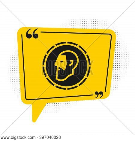 Black Ancient Coin Icon Isolated On White Background. Yellow Speech Bubble Symbol. Vector