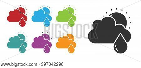 Black Cloud With Rain And Sun Icon Isolated On White Background. Rain Cloud Precipitation With Rain