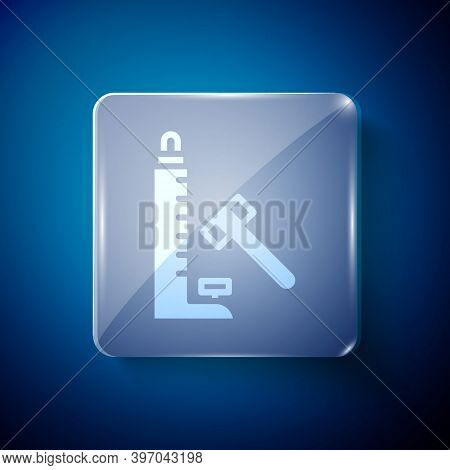 White High Striker Attraction With Big Hammer Icon Isolated On Blue Background. Attraction For Measu