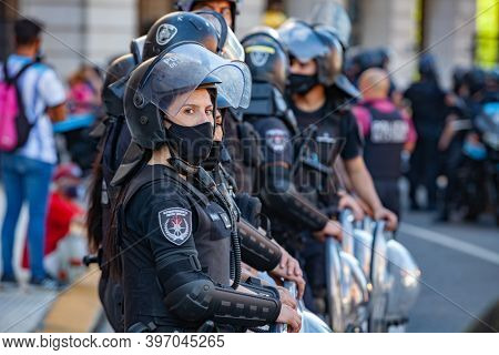 Buenos Aires, Argentina - 26 November, 2020: national, military, naval, military police, special services, army abandoned to maintain order on the day of farewell to Diego Maradona