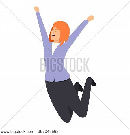 Successful Business Woman Jump Icon. Cartoon Of Successful Business Woman Jump Vector Icon For Web D