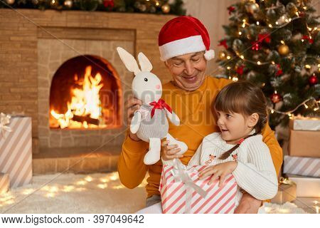 Happy Family Open Presents On Christmas Morning, Grandfather Giving Soft Rabbit Toy To His Little Gr