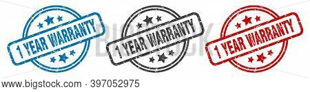 1 Year Warranty Stamp. 1 Year Warranty Round Isolated Sign. 1 Year Warranty Label Set