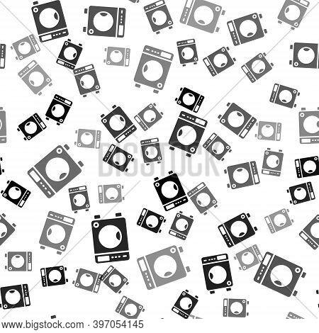 Black Washer Icon Isolated Seamless Pattern On White Background. Washing Machine Icon. Clothes Washe