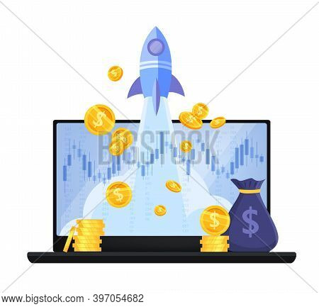 Revenue Increase, Income Growth Or Return On Investment Money Vector Concept With Laptop. Business F