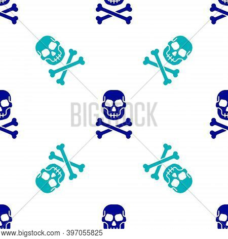 Blue Skull On Crossbones Icon Isolated Seamless Pattern On White Background. Happy Halloween Party.