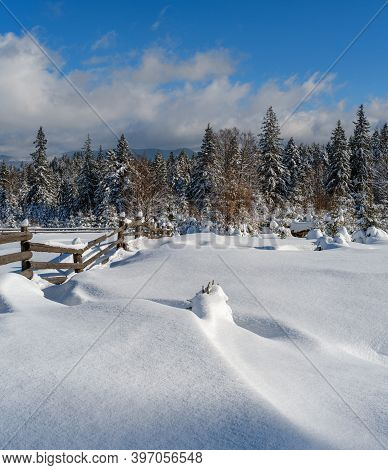 Winter Remote Alpine Mountain Village Outskirts, Countryside Hills, Groves And Farmlands