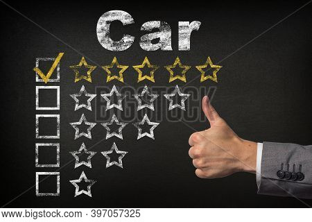 Car Five 5 Star Rating. Thumbs Up Service Golden Rating Stars On Chalkboard