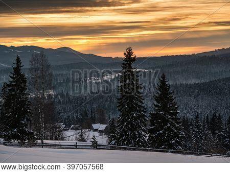 Small And Quiet Alpine Village And Winter Sunrise Snowy Mountains Around, Voronenko, Carpathian, Ukr