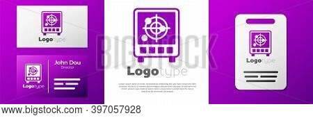 Logotype Radar With Targets On Monitor In Searching Icon Isolated On White Background. Search System