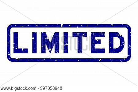 Grunge Blue Limited Word Square Rubber Seal Stamp On White Background