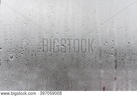 Dripping Condensation, Water Drops Background Rain Drop Condensation Texture. Close Up For Misted Gl