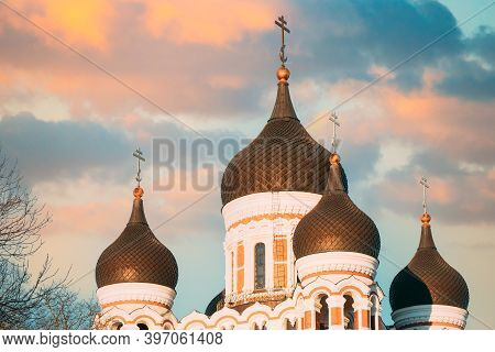 Tallinn, Estonia. Domes Of Alexander Nevsky Cathedral Is Orthodox Cathedral In Tallinn Old Town, Lar
