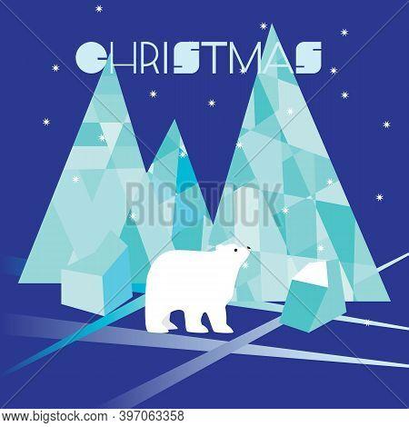 Flat Christmas Greeting Card, White Polar Bear, Icy Mountains Icebergs, Polar Night And Bright Stars