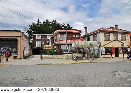 Punta Arenas, Patagonia, Chile - 20 Dec 2019: The Hotel In Punta Arenas, Patagonia, Chile