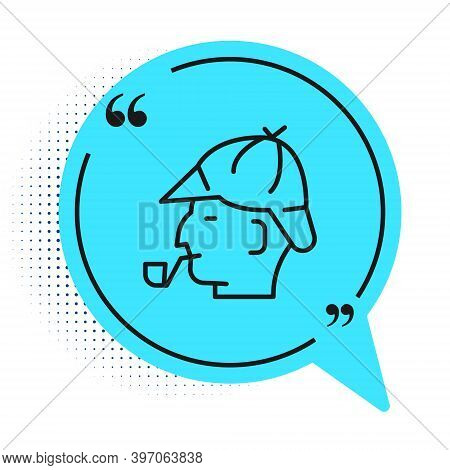 Black Line Sherlock Holmes With Smoking Pipe Icon Isolated On White Background. Detective. Blue Spee