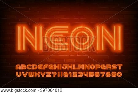 Neon Alphabet Font. Orange Neon Light Letters And Numbers In 70s Style. Stock Vector Typescript For