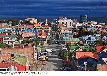 Punta Arenas, Patagonia, Chile - 21 Dec 2019: The Panoramic View On Punta Arenas, Patagonia, Chile