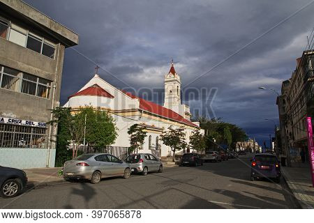 Punta Arenas, Patagonia, Chile - 21 Dec 2019: The Church In Punta Arenas, Patagonia, Chile