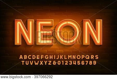 Neon Alphabet Font. 3d Neon Light Letters And Numbers. Brick Wall Background. Stock Vector Typescrip