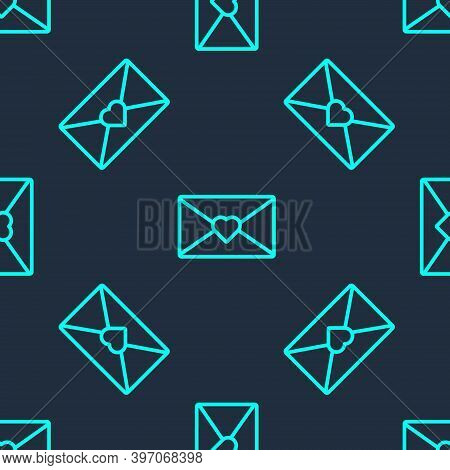 Green Line Envelope With Valentine Heart Icon Isolated Seamless Pattern On Blue Background. Message