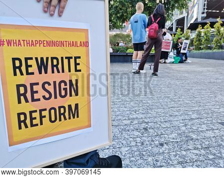 Brisbane, Australia - November 29, 2020: Group Of Protestors Peacefully Rally At King George Square,