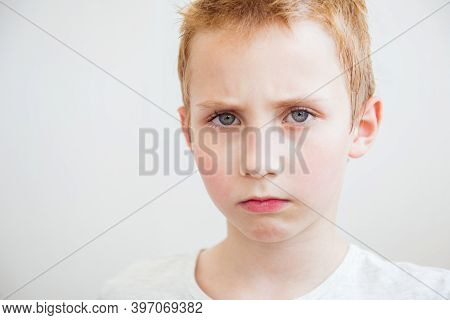 Closeup Portrait Displeased Pissed Off Angry Grumpy Pessimistic Boy. Negative Human Emotion Facial E