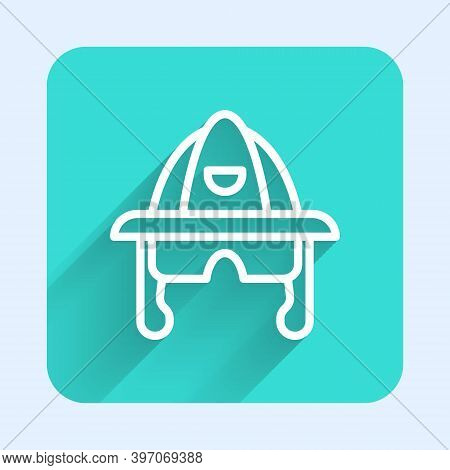 White Line Firefighter Helmet Or Fireman Hat Icon Isolated With Long Shadow. Green Square Button. Ve