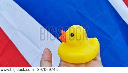 Brisbane, Australia - November 29, 2020: Rubber Duck Represents A Symbol Of People To Protest The Di