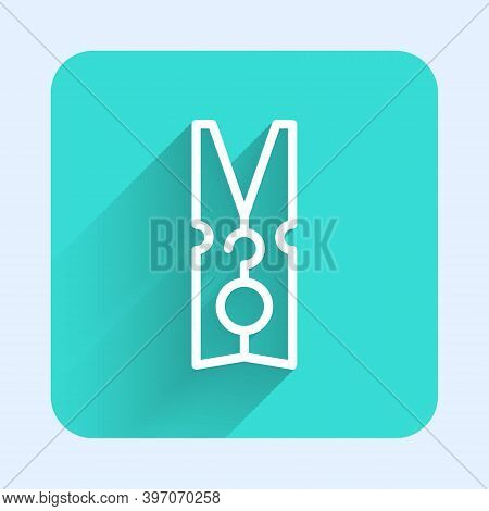 White Line Old Wood Clothes Pin Icon Isolated With Long Shadow. Clothes Peg. Green Square Button. Ve