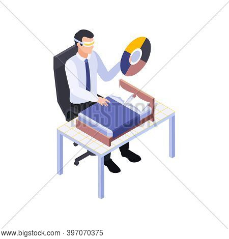 Furniture Production Isometric Maker Engaged In Process Of Design Vector Illustration