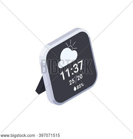 Meteorology Weather Forecast Isometric Composition With View Of Desktop Gadget Displaying Weather Pr