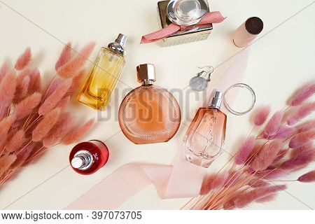 Different Perfume Bottles, Earrings, Pink Silk Ribbon And Herbs Lagurus. Beauty Flatlay, Top View.
