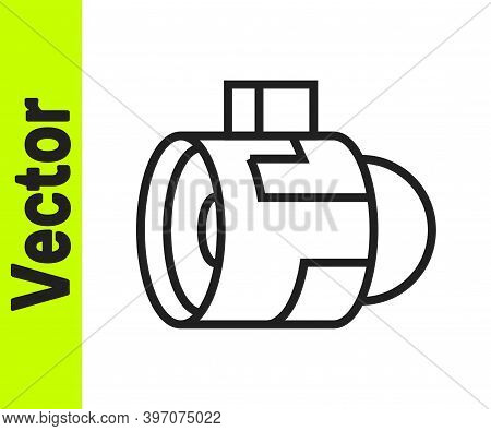Black Line Jet Engine Turbine Icon Isolated On White Background. Plane Turbine. Airplane Equipment.