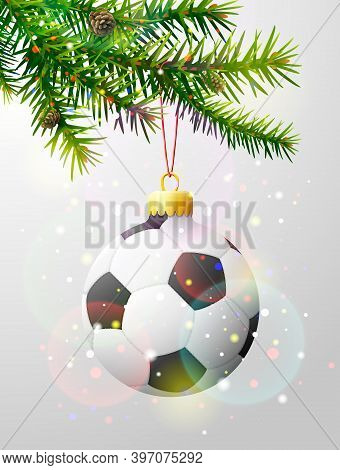 Christmas Tree Branch With Soccer Ball. Christmas Bauble Of Football Ball Hanging On Pine Twig. Vect