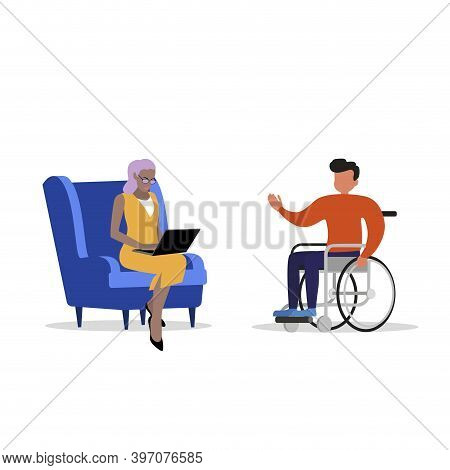 Psychological Assistance For Disabled People. Psychologist And Patient In A Wheelchair, Assistance T