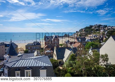 Pleneuf Val Andre City And Beach View In Summer, Brittany, France
