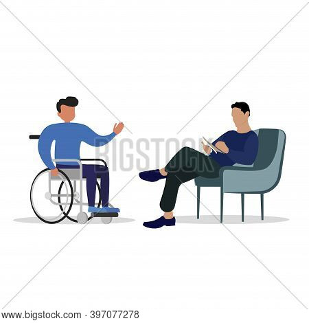 Care Mental Consultant To Handicap Person In Wheelchair. Vector Medical Counseling For Recovery Inva