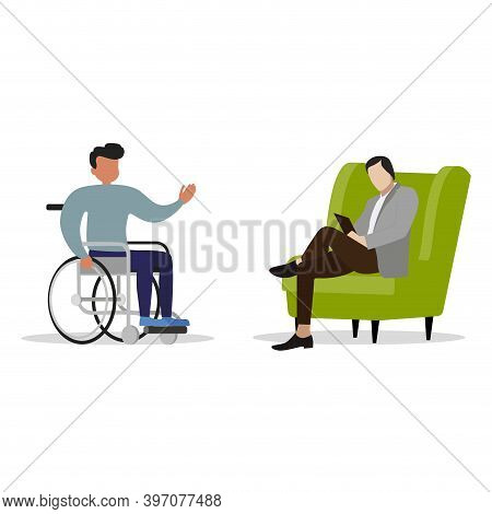 Psychologist Consulting Invalid On Wheelchair. Vector Psychotherapy To Disability Patient, Psycholog