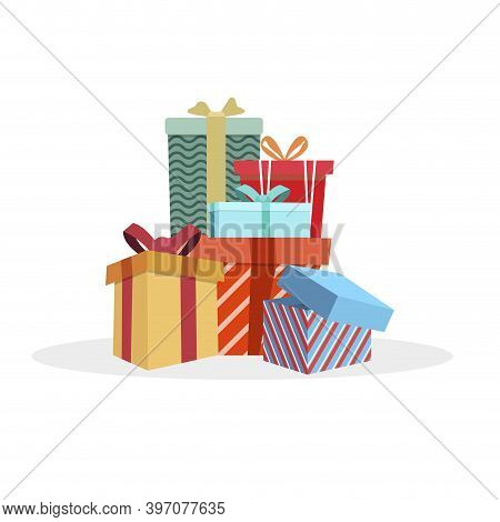 Colored Heap Gift Boxes To Holiday Like Xmas Or Birthday. Packaging Box, To Christmas Party, Surpris