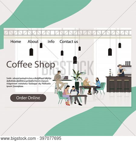 Coffee Shop Landing Page, Cafeteria Interior With Customers Conversation And Coworking. Coffeehouse