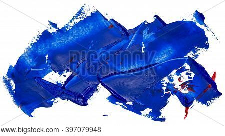 Hand Drawn Isolated Oil Paintbrush Stripe With Deep Dirty Blue Color And Rare Small Red Spots Esp 10