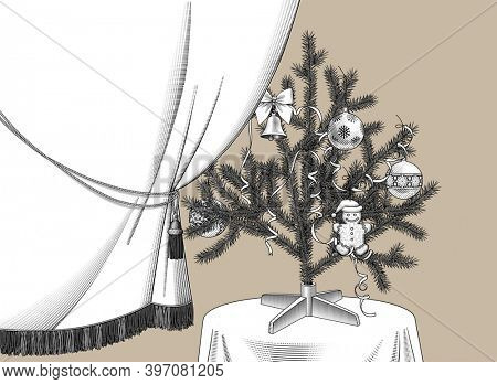 Curtain and Christmas tree with ribbons and ornaments on the round table. Vintage engraving stylized drawing