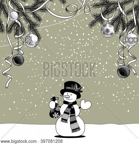 Snowman on the snow with a gift bag in hand and fir branches with Christmas decorations. Christmas and New-Year's greeting card template in black and white  colors