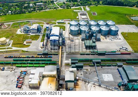 Bio Gas Station. Modern Biofuel Factory. Aerial View On Biofuel Plant. Ecological Production. Photo