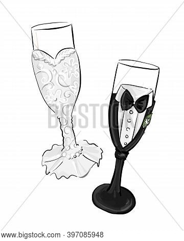 Bride And Groom Champagne Glasses. Vector Illustration  Isolated On A White Background.