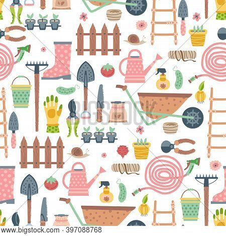 Garden Tool And Materials Seamless Pattern. Vector Illustration Of Gardening Elements. Happy Spring