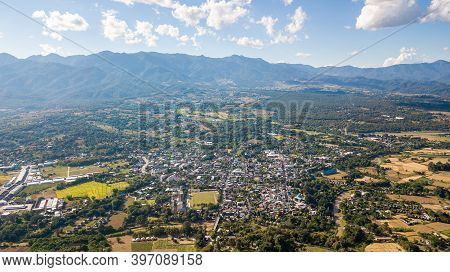 Top View Point Of Pai District Mae Hong Son Thailand. Pai Is A Small Town In Northern Thailand's Mae